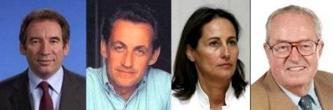 Les quatre candidats aux présidentielles 2007 françaises ayant les sondages les plus forts en janvier 2007
