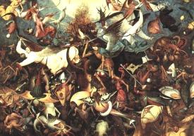 Dans ce tableau de Pieter Bruegel, Saint Michel et ses acolytes chassent du Ciel les anges qui se sont rebellés contre Dieu, Lucifer en tête. Il s'agit d'une illustration du XIIe chapitre de l'Apocalypse : une autre image liée à Pluton.