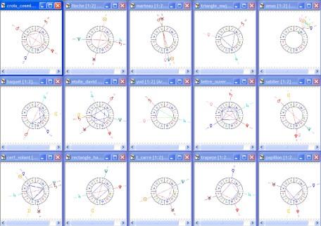 Les 15 configurations majeures et mineures d'aspects composés connus actuellement : rien n'est simple, l'interprétation doit tenir compte des combinaisons d'aspects actifs et non seulement des aspects purs. Le Boomerang porte à 16 les configurations de ce dossier.