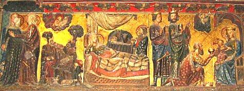Le Christ est né quelques années avant le début de notre ère. Ce bas relief représente à gauche Marie  et Joseph, au centre la naissance de Jésus à Bethléem, et à droite la visite des trois rois mages.