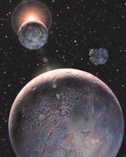Pluton et son satellite Charon; Pluton représente l'inconscient, le désir de domination, les pulsions de violence, la sexualité avec ses tabous et ses mystères, le sadisme et l'érotisme, les secrets, la puissance, le déchaînement des forces sans contrôle de la volonté, l'inconnu...