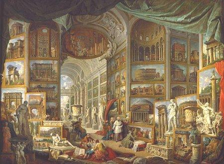 Pour illustrer la Rome antique, cette galerie de vues de Giovanni Paolo Pannini, qui est exposée au musée du Louvre à Paris.