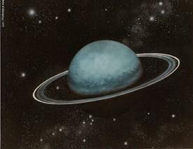Uranus est une planète de taille importante, et tout comme Saturne, a des anneaux, ce qu'on ignore généralement. Son influence est considérable à son demi-retour, vers l'âge de 38 à 43 ans en fonction du thème natal : une envie de tout changer, de tout transformer autour de soi, ou de se transformer soi-même.